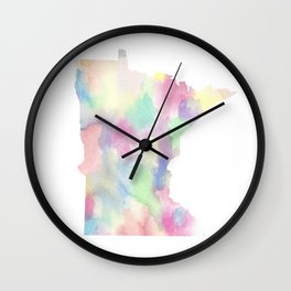 Watercolor State Map - Minnesota MN blue greens Wall Clock