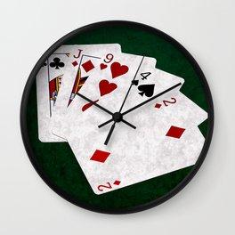 Poker Hand High Card King Jack Nine Four Two Wall Clock