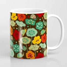 Nasturtiums & Snails On Brown Coffee Mug