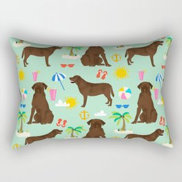Chocolate Lab labrador retriever dog breed beach summer vacation dog gifts Rectangular Pillow