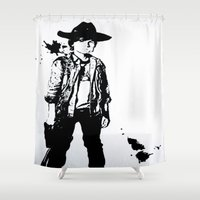 grimes Shower Curtains featuring Carl Grimes  by Black And White Store