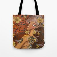 charmaine Tote Bags featuring Queen Bee by Charmaine D'Silva