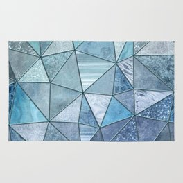Blue Aqua Glamour Shiny Precious Patchwork Rug
