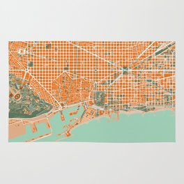 Barcelona city map orange Rug