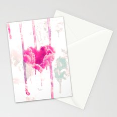 Bleed | Modern Pink Cloud Love Heart Pink Watercolor Drips Stationery Cards