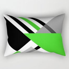 Sophisticated Ambiance - Silver & Minty Green Color Rectangular Pillow