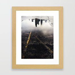 Reflection of Chicago in a Puddle Framed Art Print