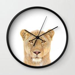 Lioness Art Print by Zouzounio Art Wall Clock