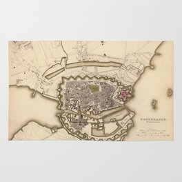 Map of Copenhagen 1837 Rug