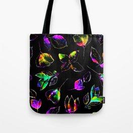 black vivid floral Tote Bag