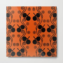 Orange and black Old fine illustration of the grammar of ornament stylish floral pattern for clothing or home decoration Metal Print