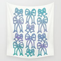 bows Wall Tapestries featuring Bows by Jessica Slater Design & Illustration