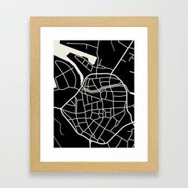 Wismar Karte Dark Framed Art Print