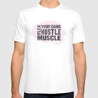 Flex Your Dang Hustle Muscle SMALL White Mens Fitted Tee