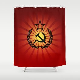 Sunny Hammer and Sickle Shower Curtain