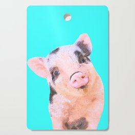Baby Pig Turquoise Background Cutting Board