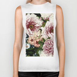 Vintage Peony and Ipomea Pattern - Smelling Dreams Biker Tank