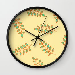 Speckled Leaf Prints in orange, teal blue on pale yellow Wall Clock