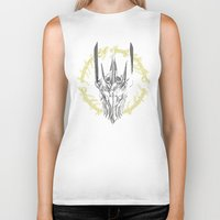 middle earth Biker Tanks featuring The Dark Lord of middle Earth by ddjvigo