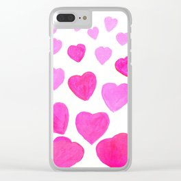 Pink Heart design Clear iPhone Case