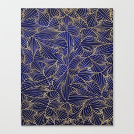 Tangles Blue and Gold Canvas Print