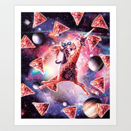 Thug Space Cat On Giraffe Unicorn - Pizza Art Print