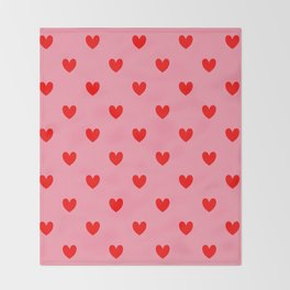 Red Heart Pattern Throw Blanket