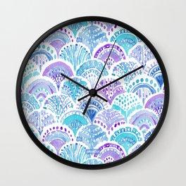 Mystical MERMAID DAYDREAMS Watercolor Scales Wall Clock