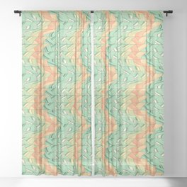 Emerald and salmon pattern Sheer Curtain