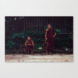 Yangon, Myanmar – Monks Waiting for the Train Canvas Print