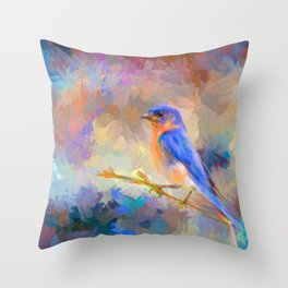 Bring On The Bluebirds Throw Pillow