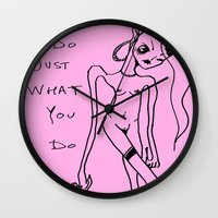 girl power Wall Clocks featuring Power Girl by Hannah Grunden