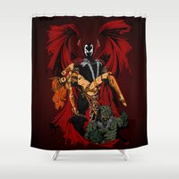 spawn Shower Curtains featuring Emerging Victorious by CromMorc