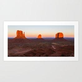 Last light at Monument Valley Art Print