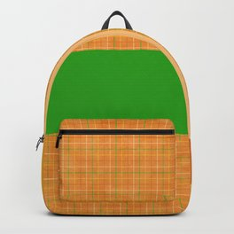 Fall Orange Green Yellow Checkered Gingham Patchwork Canvas Backpack