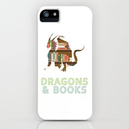 """Geeky Design For Nerds Saying """"Easily Distracted By Dragons & Books"""" T-shirt Design Librarian iPhone Case"""
