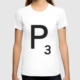 Letter P - Custom Scrabble Letter Tile Art - Scrabble P Initial T-shirt