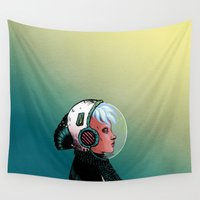 astronaut Wall Tapestries featuring Astronaut by Judith Chamizo