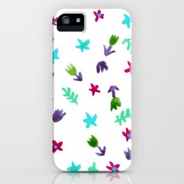 Hand Painted Calico Floral Pattern (Purple Aqua Green Blue Red) iPhone Case