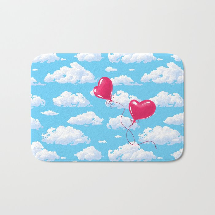 Two heart shaped red balloons Bath Mat