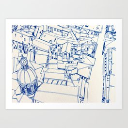 Bologna from above - outline Art Print