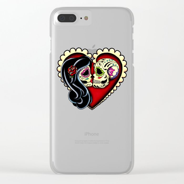 Ashes - Day of the Dead Couple - Kissing Sugar Skull Lovers Clear iPhone Case