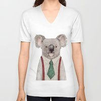 koala V-neck T-shirts featuring Koala by Animal Crew