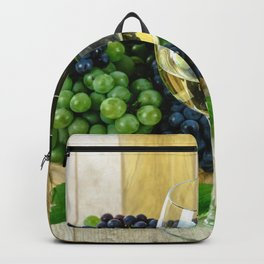 Glasses of Wine plus Grapes and Barrel Backpack