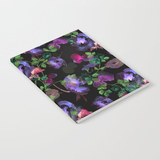 flowers and leaves on black background Notebook