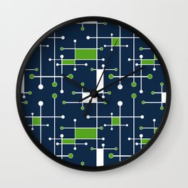 Intersecting Lines in Navy, Lime and White Wall Clock