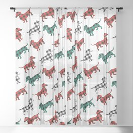 Christmas Dachshunds Red Flannel Sheer Curtain