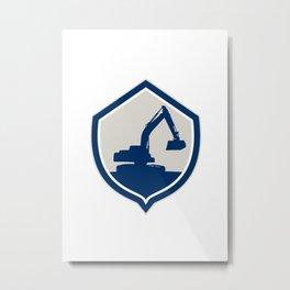 Mechanical Digger Excavator Shield Retro Metal Print