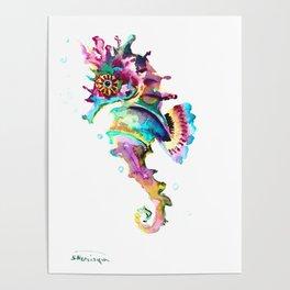 Seahorse , multi colored sea world animal art, design, cute animal art beach Poster