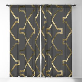 Gold and dark gray geometric pattern Blackout Curtain